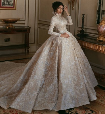 Vintage Lace Long Sleeves Wedding Dresses | 2019 High Neck Glamorous Bridal Ball Gowns_3