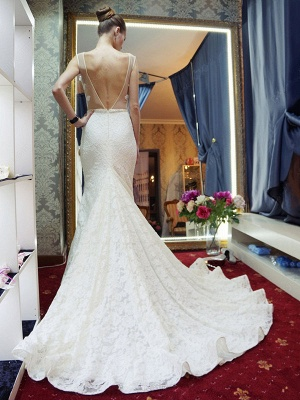Gorgeous Mermaid Backless New Arrival Sleeveless Wedding Dress Cheap_4
