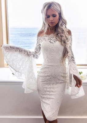 Newest Lace White Long Sleeve Homecoming Dress | Bodycon Short Formal Dress_1