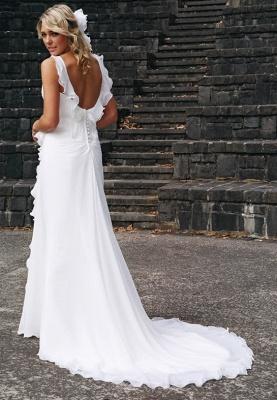 Stunning Backless Chiffon Wedding Dresses | Summer Beach Ruffles Sleeveless Bridal Gowns_3