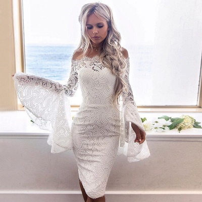 Newest Lace White Long Sleeve Homecoming Dress | Bodycon Short Formal Dress_3