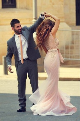 Pink Mermaid Prom Dresses Sleeveless Pearls with Bow Sash Formal Evening Gowns_2
