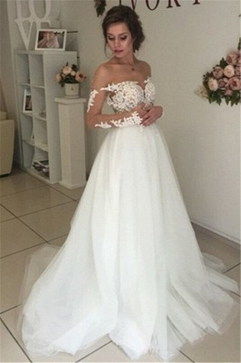 Sheer Long Sleeve Lace Wedding Dresses Open Back Tulle Ball Gown Bridal Dress_4