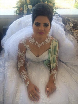Long Sleeve Elegant Lace Appliques Ball Gown Wedding Dresses Cheap with Court Train_3