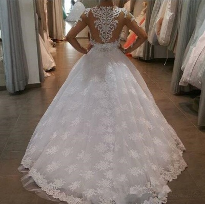 Long Sleeve Elegant Lace Appliques Ball Gown Wedding Dresses Cheap with Court Train_4