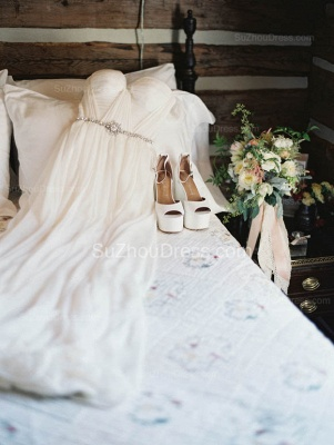 Off The Shoulder Ivory Chiffon Wedding Dresses | Summer Beach Bridal Gowns with Crystals Sash_2