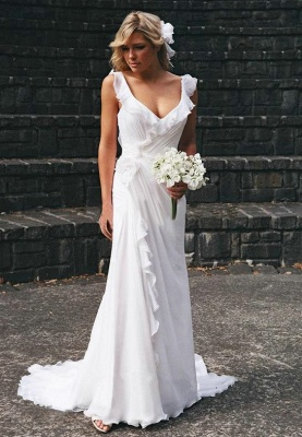 Elegant Open Back Chiffon Wedding Dress Summer Beach Ruffles Sleeveless Bridal Dresses