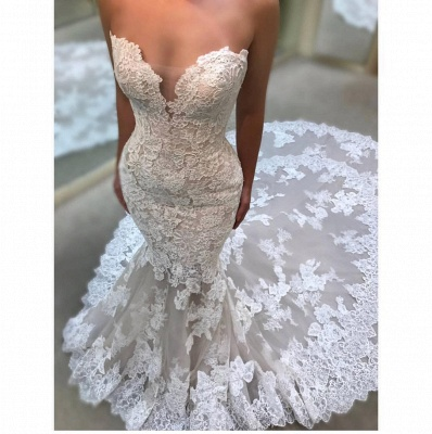 Sexy Sweetheart Wedding Dresses Cheap Online | Lace Appliques Sleeveless Bridal Gowns_3