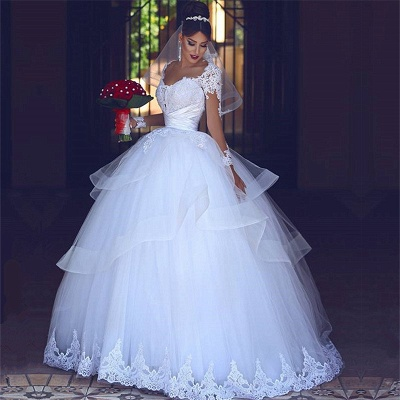 Lace Tulle Puffy Wedding Dresses Long Sleeves 2019 | Sheer Tulle Cheap Ball Gown Bridal Gowns_3