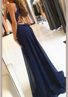 Newest Chiffon Lace A-line Sleeveless Prom Dress   Front Split Prom Dress_3