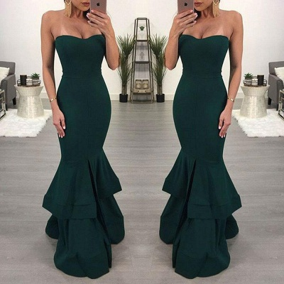 Sexy Mermaid Evening Dresses | Layers Front Slit Long Prom Dresses_5
