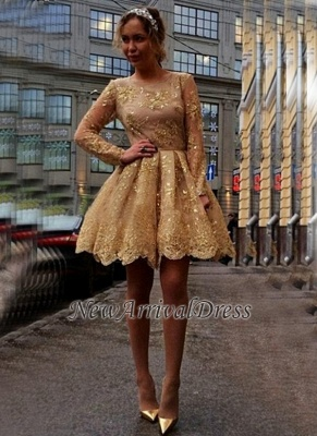 Appliques Long-Sleeves Sheer Short Gorgeous Gold Homecoming Dresses_3