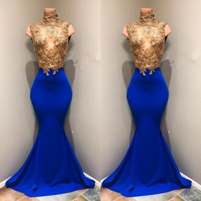royal blue high neck mermaid lace Appliques Prom Dresses Cheap,Prom Dresses Cheap_3