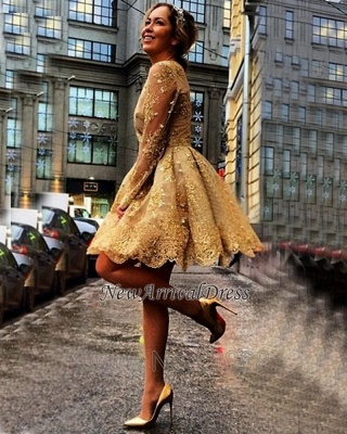 Appliques Long-Sleeves Sheer Short Gorgeous Gold Homecoming Dresses_4