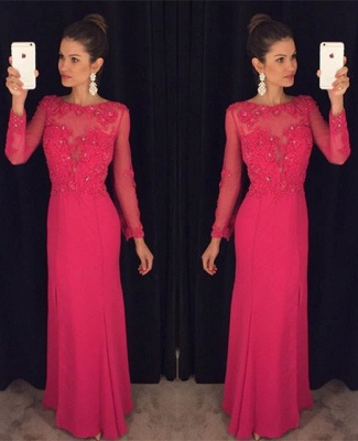 Elegant Long Sleeve Red Chiffon Prom DressLace Appliques Sequins AP0_3