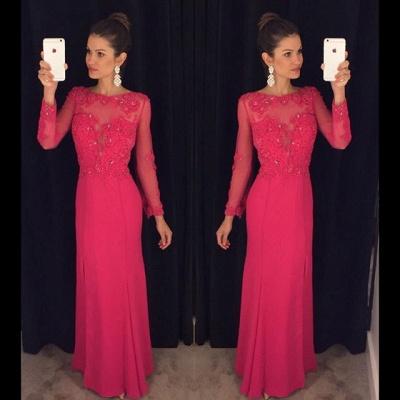 Elegant Long Sleeve Red Chiffon Prom DressLace Appliques Sequins AP0_4