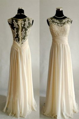 Bateau Chiffon A-Line Bridesmaid DressesAppliques Floor Length Evening Dresses_1