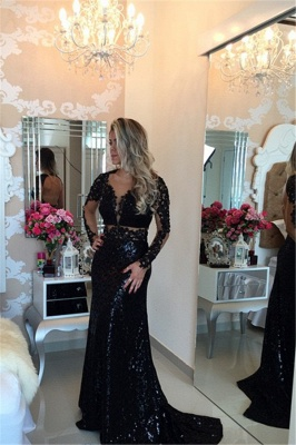Black Long Sleeves Sequined Prom DressesLace Appliques Evening Gowns BT00_2