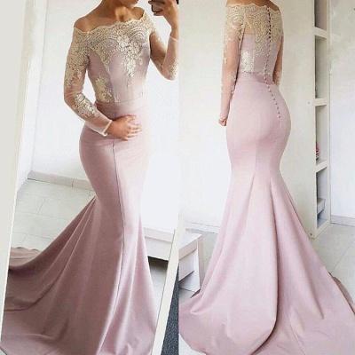 Cute Lace Long Sleeve Off Shoulder Mermaid Sweep Train Prom Dress BA8277_3