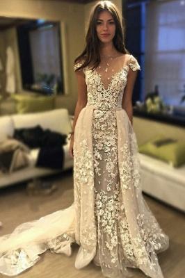 Delicate Short Sleeve Elegant Lace Appliques A-line Wedding Dress Cheap_1