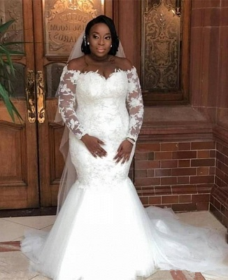 Plus Size Mermaid Appliques Wedding Dresses | Long Sleeve Off The Shoulder Bridal Gowns_2