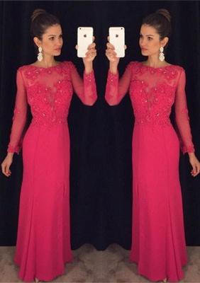 Elegant Long Sleeve Red Chiffon Prom DressLace Appliques Sequins AP0_1