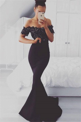 Sexy Mermaid Off-shoulder Sweep-train Lace  Prom Dresses