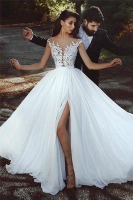 Lace Appliques Chiffon Wedding Dresses Sexy | Front Slit sheer Cheap Bride Dress_1