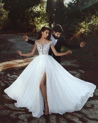 Lace Appliques Chiffon Wedding Dresses Sexy | Front Slit sheer Cheap Bride Dress_2