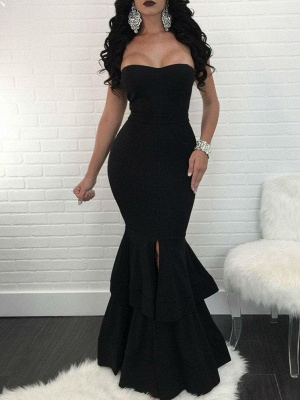 Sexy Mermaid Evening Dresses | Layers Front Slit Long Prom Dresses