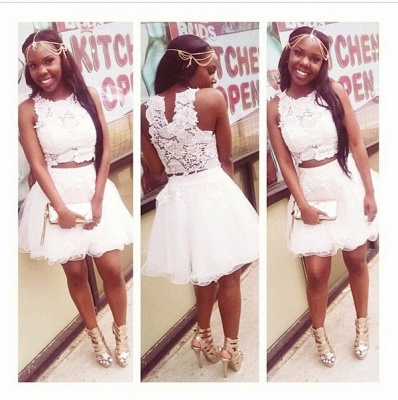 Lovely White Lace Short Homecoming Dress Two Pieces Appliques Tulle Slveless Prom Dress_2
