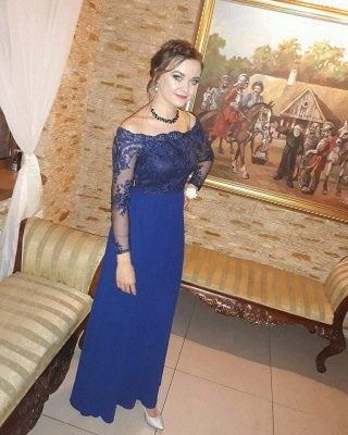 Royal-Blue Long-Sleeves Prom Dresses   Delicate Evening Gown_3