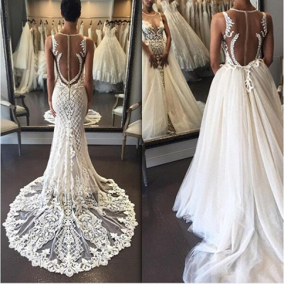 Lace Illusion Detachable Train Delicate Custom Made Sleeveless Wedding Dresses Cheap Online_3