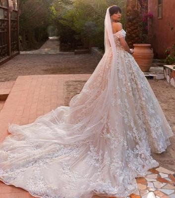 Elegant Off Shoulder Tulle Wedding Dresses 2019 | Puffy 3d-Flowers Bridal Gowns_3
