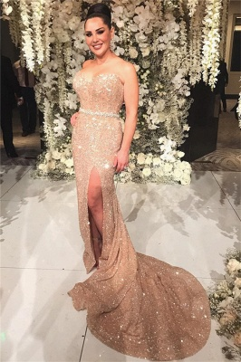 Champagne Gold Sequins Formal Dresses Long | Sexy Slit Cheap Prom Dress Online_3