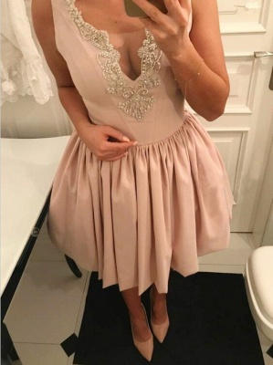 Newest Pink Straps Short Sleeveless Lace Homecoming Dress_3