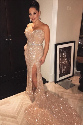 Champagne Gold Sequins Formal Dresses Long | Sexy Slit Cheap Prom Dress Online_1