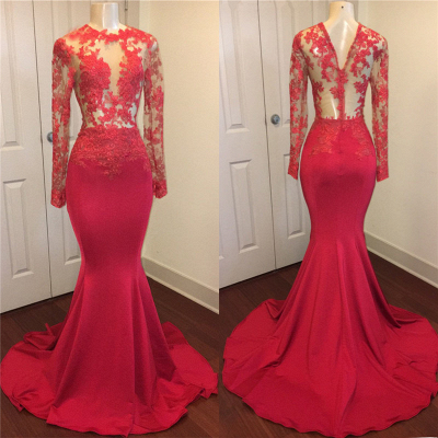 Red Lace Appliques Mermaid Prom Dresses with Sleeves on Mannequins_1
