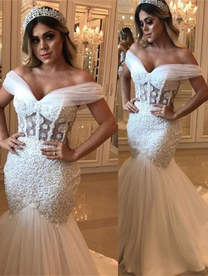 Modest Beads Sexy Off The Shoulder Wedding Dresses | Mermaid Online Cheap Bridal Gowns_1