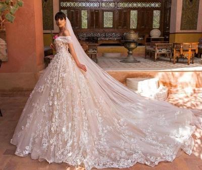 Elegant Off Shoulder Tulle Wedding Dresses 2019 | Puffy 3d-Flowers Bridal Gowns_4