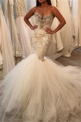 Glamorous Mermaid Tulle Sexy Wedding Dresses | Lace Sweetheart Crystal Bridal Gowns 2021_1