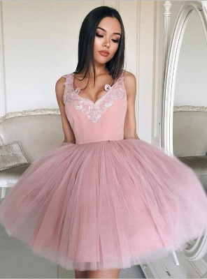 Newest Pink Straps Short Sleeveless Lace Homecoming Dress_1