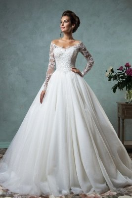 Lace Long Sleeves A-line Wedding Dresses Off-Shoulder Lace Applique Sheer Back Bridal Gowns_1