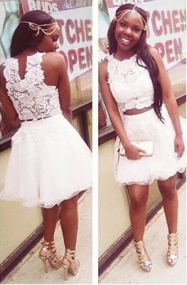 Lovely White Lace Short Homecoming Dress Two Pieces Appliques Tulle Slveless Prom Dress_1