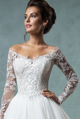 Lace Long Sleeves A-line Wedding Dresses Off-Shoulder Lace Applique Sheer Back Bridal Gowns_3
