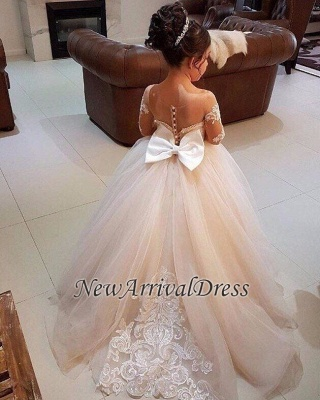 Ball Flower Long-Sleeve Lace Romantic Gown Girls Dresses_5