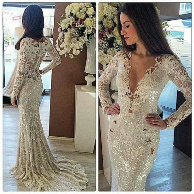 Sequins Mermaid Long Prom Dresses | Cheap Long Sleeve formal Dress BA7215_3