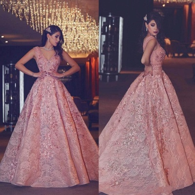 Flowers Beading Luxury Pink Puffy V-Neck Lace Evening Gowns_3