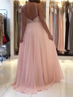 Modest Pink Beads A-line Prom Dress | Chiffon Prom Dress_3
