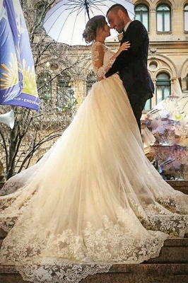 Sexy V-Neck Tulle Long Sleeve Lace Appliques Detachable Overskirt Wedding Dresses_2